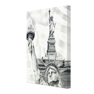 La estatua de la libertad estiró la impresión de l