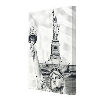 La estatua de la libertad estiró la impresión de l lienzo envuelto para galerias