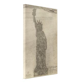 La estatua de la libertad humana en la impresión d impresion de lienzo
