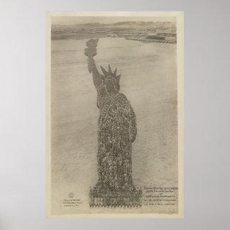 La estatua de la libertad humana en la impresión d póster