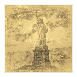 La estatua de la libertad, Nueva York del vintage  Impresion De Lienzo