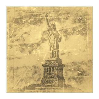 La estatua de la libertad, Nueva York del vintage  Lona Estirada Galerias