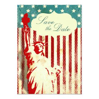 """La estatua de la libertad y el boda de la bandera invitación 4.5"""" x 6.25"""""""