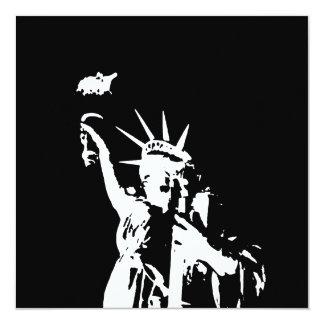 """La estatua de la silueta de la libertad invita invitación 5.25"""" x 5.25"""""""
