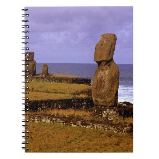 La estatua de Moai de la plataforma de Tahai resum Libros De Apuntes Con Espiral