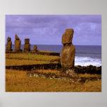 La estatua de Moai de la plataforma de Tahai resum Póster