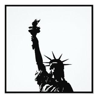 """La estatua negra y blanca de la silueta de la invitación 5.25"""" x 5.25"""""""