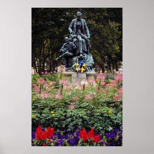 La estatua roja honra Pittsburgh Stephen nativo ad Póster