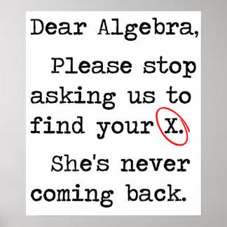La estimada álgebra para por favor el pedir que de póster