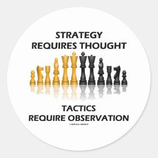 La estrategia requiere la observación de las tácti etiquetas redondas