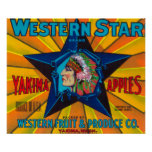 La estrella Apple occidental etiqueta - Yakima, WA Póster