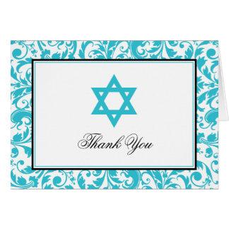 La estrella azul del damasco del remolino del tarjeta pequeña