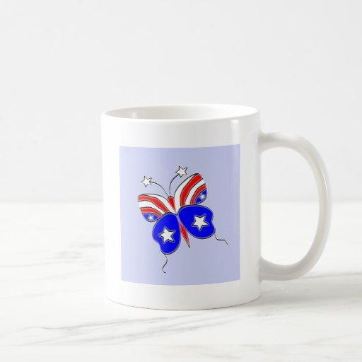 La estrella blanca y azul roja Spangled la Taza De Café