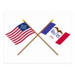 La estrella cruzada e Iowa de los E.E.U.U. 29 indi Postal