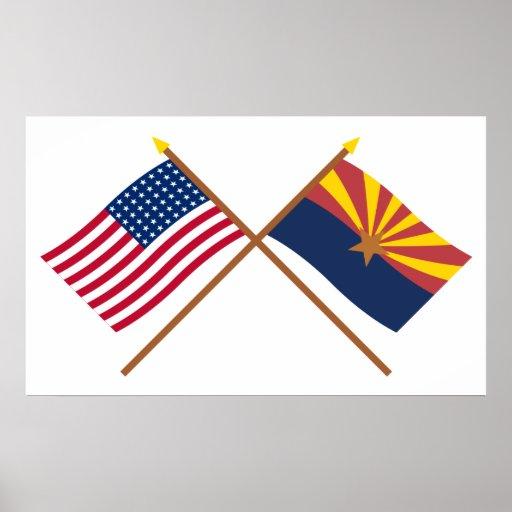 La estrella cruzada y Arizona de los E.E.U.U. 48 i Impresiones