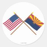 La estrella cruzada y Arizona de los E.E.U.U. 48 Pegatinas Redondas