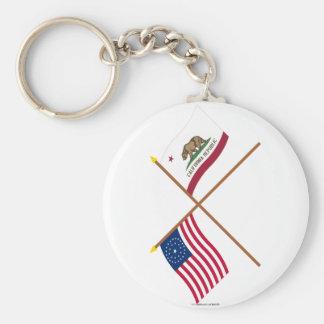 La estrella cruzada y California de los E.E.U.U. 3 Llavero Redondo Tipo Pin