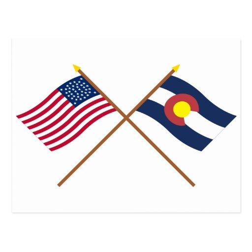 La estrella cruzada y Colorado de los E.E.U.U. 38 Postal
