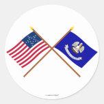 La estrella cruzada y Luisiana de los E.E.U.U. 20 Pegatina Redonda