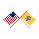 La estrella cruzada y New Jersey de los E.E.U.U. 1 Tarjetas Postales