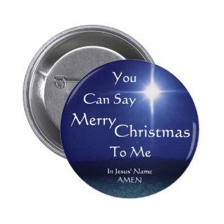 La estrella de Belén, puede decir, feliz, navidad, Pin Redondo De 2 Pulgadas