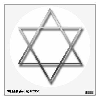 La estrella de David de plata con la sombra - Vinilo Decorativo