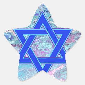 La estrella de David en el mármol Pegatina En Forma De Estrella