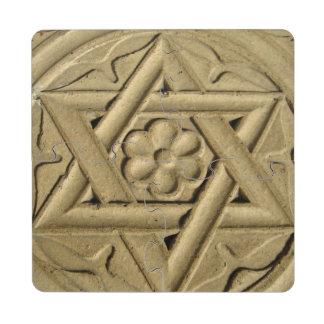 La estrella de David grabó en la piedra - judaísmo Posavasos De Puzzle