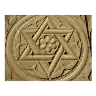 La estrella de David grabó en la piedra - judaísmo Postal