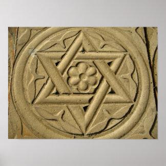 La estrella de David grabó en la piedra - judaísmo Póster