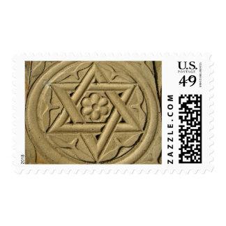 La estrella de David grabó en la piedra - judaísmo Sellos Postales