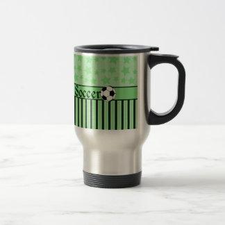 La estrella de fútbol raya verde taza térmica