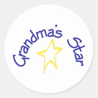 La estrella de la abuela pegatina redonda