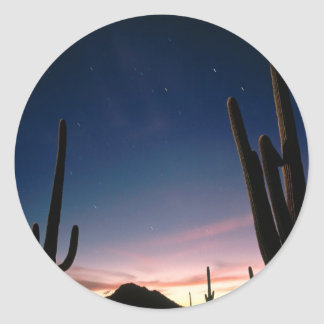 La estrella de los desiertos arrastra el Saguaro Pegatina Redonda