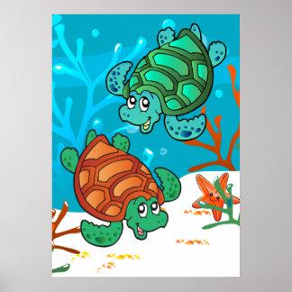 La estrella de mar linda acuática de la tortuga póster