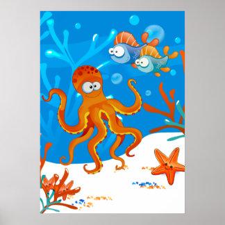 La estrella de mar linda acuática del pulpo del impresiones