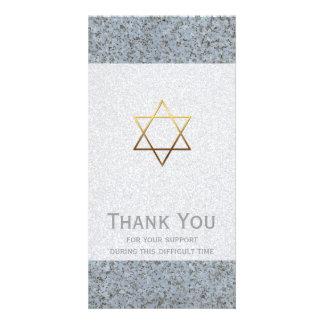 La estrella de oro de la condolencia de la piedra tarjeta con foto personalizada