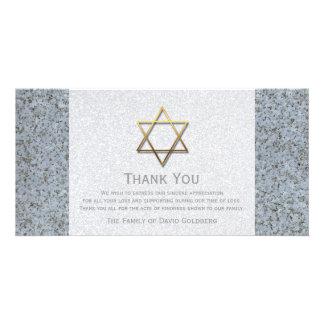 La estrella de oro de la condolencia de la piedra tarjetas fotográficas