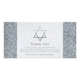 La estrella de plata de la condolencia de la tarjetas fotograficas personalizadas