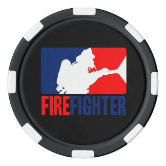La estrella del bombero en Tri colores Fichas De Póquer