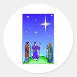 La estrella dirige a hombres sabios pegatina redonda