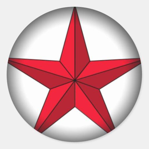 La estrella náutica se descolora para ennegrecerse pegatina redonda