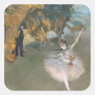 La estrella, o bailarín en la etapa, c.1876-77 pegatina cuadrada