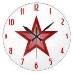 """La estrella roja """"numera"""" el reloj blanco redondo"""