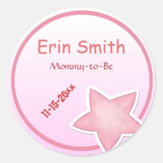 La estrella rosada adorable, Mamá-a-Es fiesta de Pegatina Redonda
