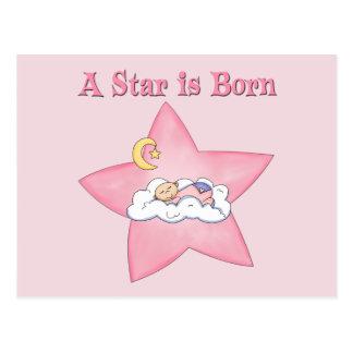 La estrella rosada es invitación nacida postal