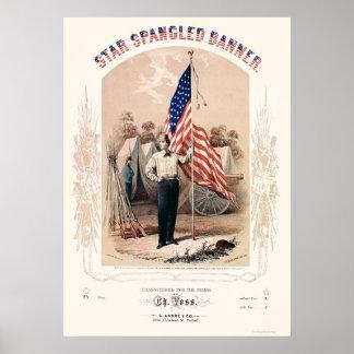 La estrella Spangled la litografía de la bandera d Impresiones