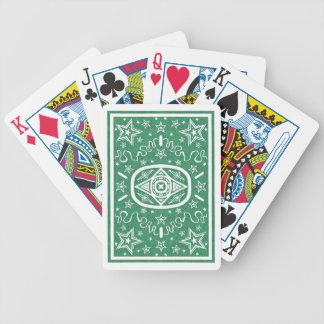 La estrella verde detrás monta en bicicleta cartas de juego