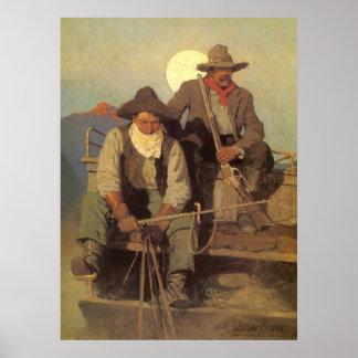 La etapa de la paga por NC Wyeth, vaqueros del Póster