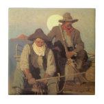 La etapa de la paga por NC Wyeth, vaqueros del vin Tejas Ceramicas